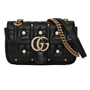 New Gucci Gg Pearly Matelassé Leather Shoulder Bag